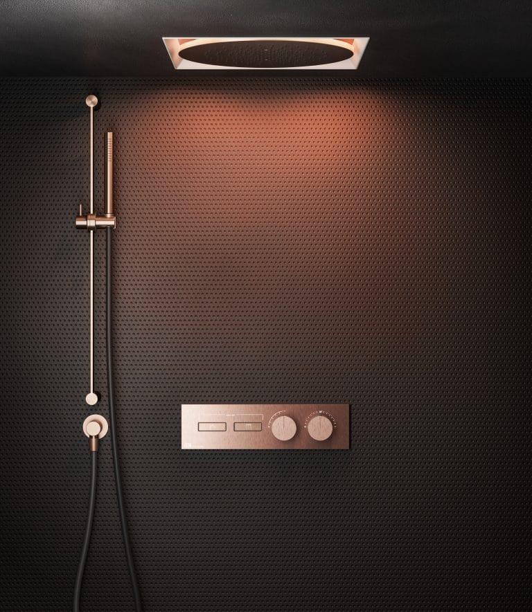 Měděná sprchová souprava Hi-Fi, hlavová kulatá sprcha s osvětlením