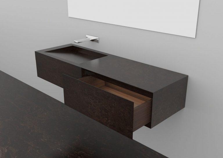 Černé kamenné umyvadlo se skříňkou, zrcadlo, šedá koupelna.