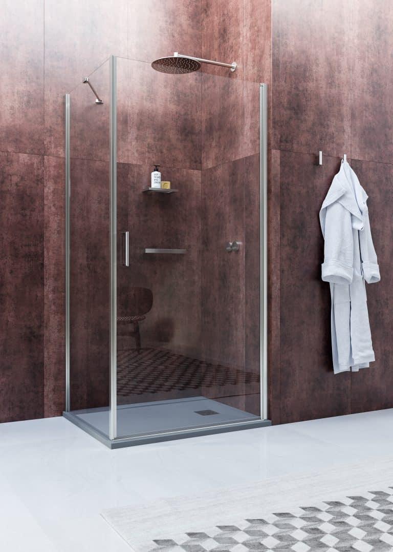 Rohová sprchová zástěna, obklad s imitací železa