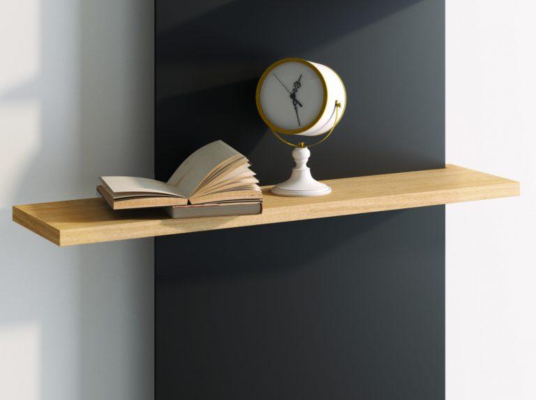 dřevěná polička na radiátoru s knihou a hodinami