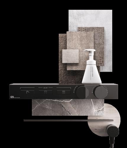 Mood board sprchová černá baterie Hi-Fi