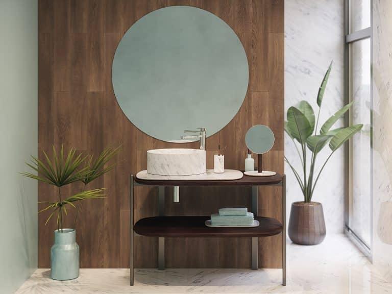 Umyvadlová sestava Balda s kulatým umyvadlem a zrcadlem