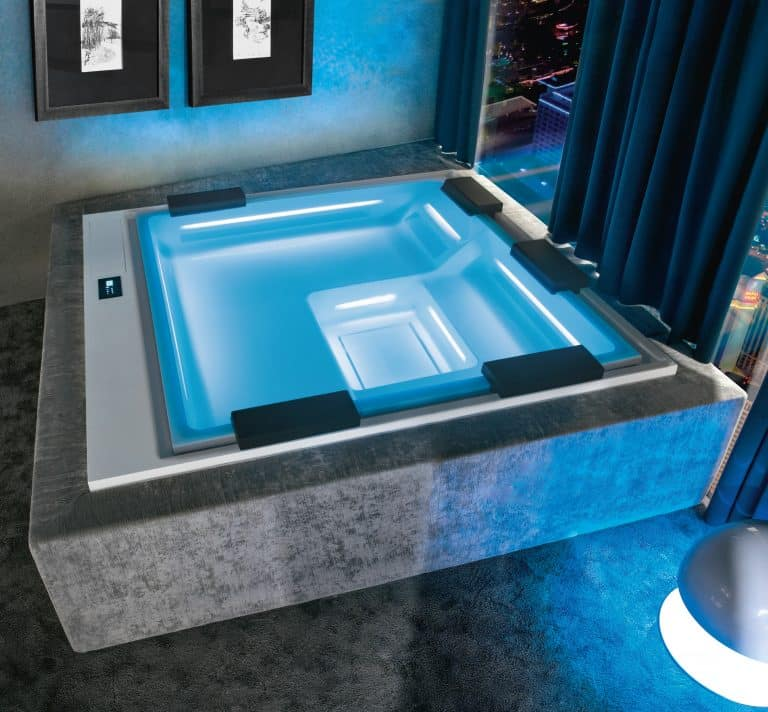 luxurious whirpool jacuzzi indoor with lighting and music