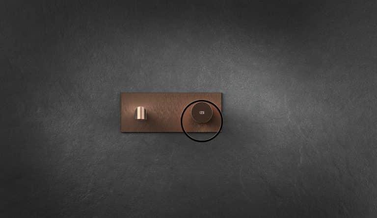 Měděná umyvadlová baterie na zdi, kruhové madlo