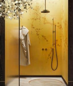 žlutý sprchový kout