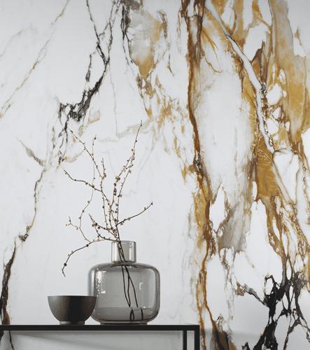 Mramorová zeď, průhledná skleněná váza s větvičkou
