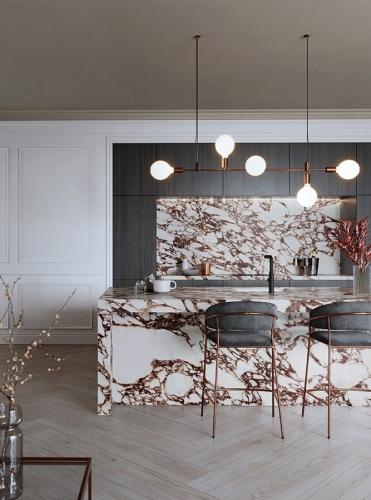 Kuchyně z červeného mramoru s ostrůvkem