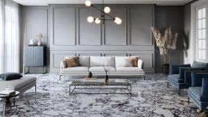 Mramorová podlaha, bílá kožená sedačka