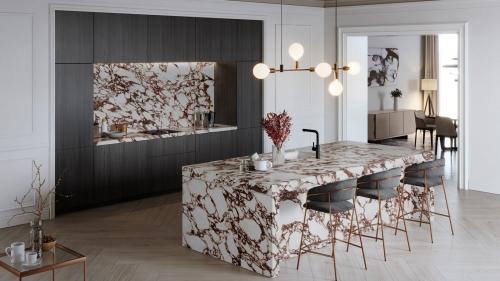 Kuchyně z mramoru s ostrůvkem, barové židle